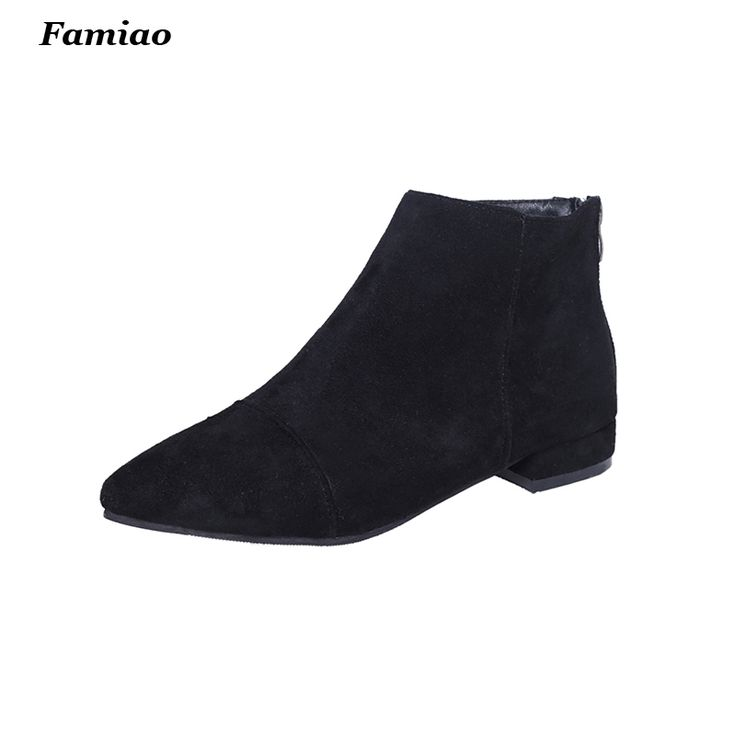 Cheap ankle boots suede, Buy Quality boots suede directly from China fashion booties Suppliers: 2016 fall winter women ankle boots suede leather pointed toe martin booties fashion ladies shoes