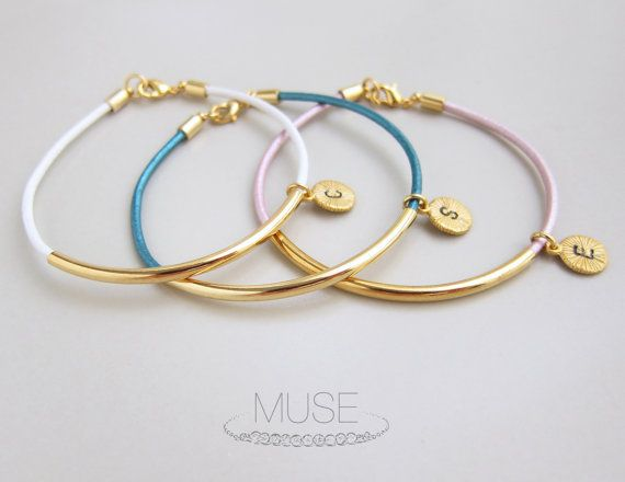 Personalized Initial Charm Bracelet Gold Bar Leather by MuseByLAM, $24.00