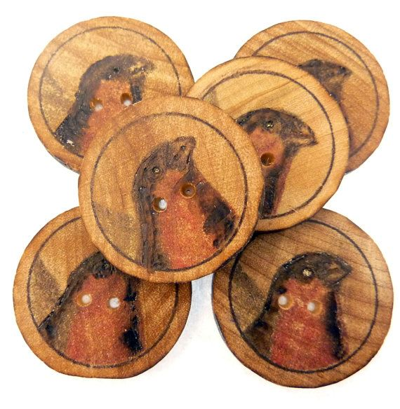 6 Rustic or Primitive Woodburned Vintage Bird by TimesNotForgotten