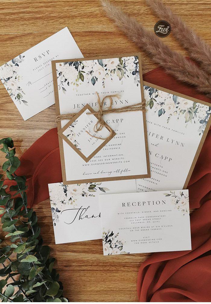 Rustic Greenery Wedding Invitation With Earth Toned Kraft Backing Card Ewis008 Rustic Wedding Invitation Card Wedding Invitations Rustic Minimalist Wedding Invitations