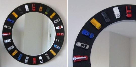 Car mirror - could DIY with a magnetic frame/paint so that the cars could be removed for play