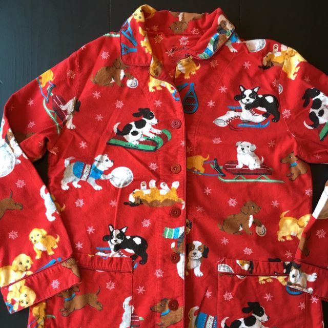 Nick And Nora Pajama Top L Red Flannel Puppies Sled Skates | eBay