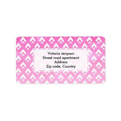 Modern pink watercolor ombre triangles chevron label - pattern sample design template diy cyo customize