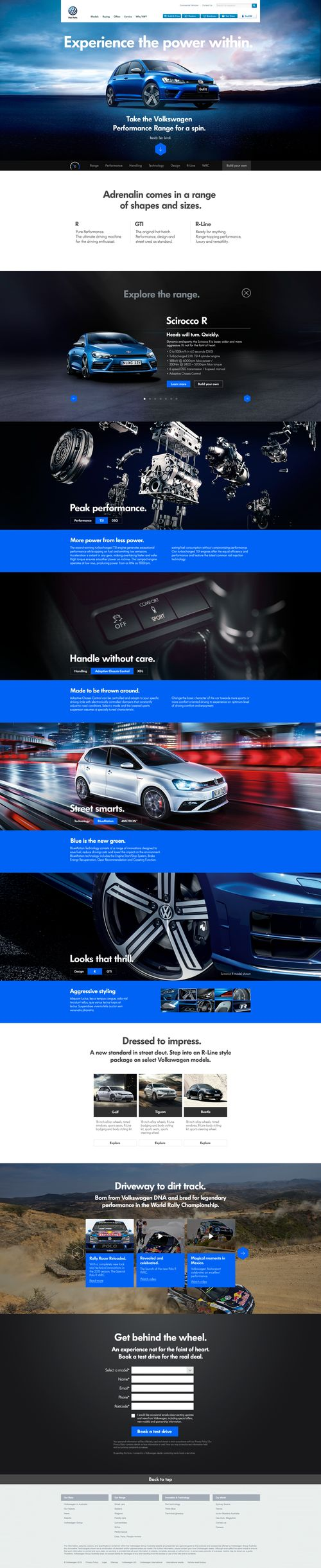 Volkswagen Performance - car / automotive website design by JONO YUEN