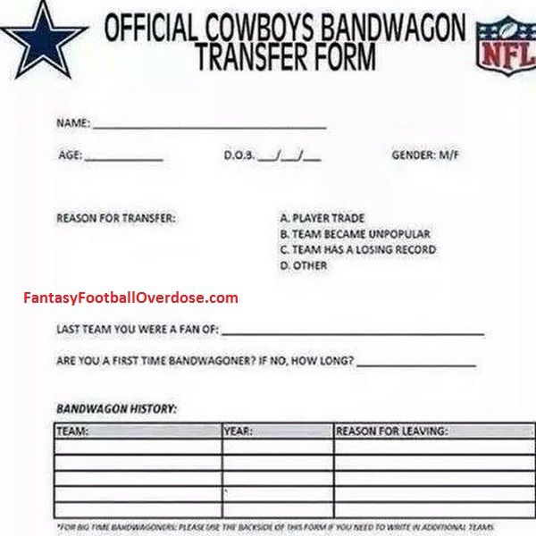 BREAKING NEWS: NFL Releases Dallas Cowboys Bandwagon Transfer Form