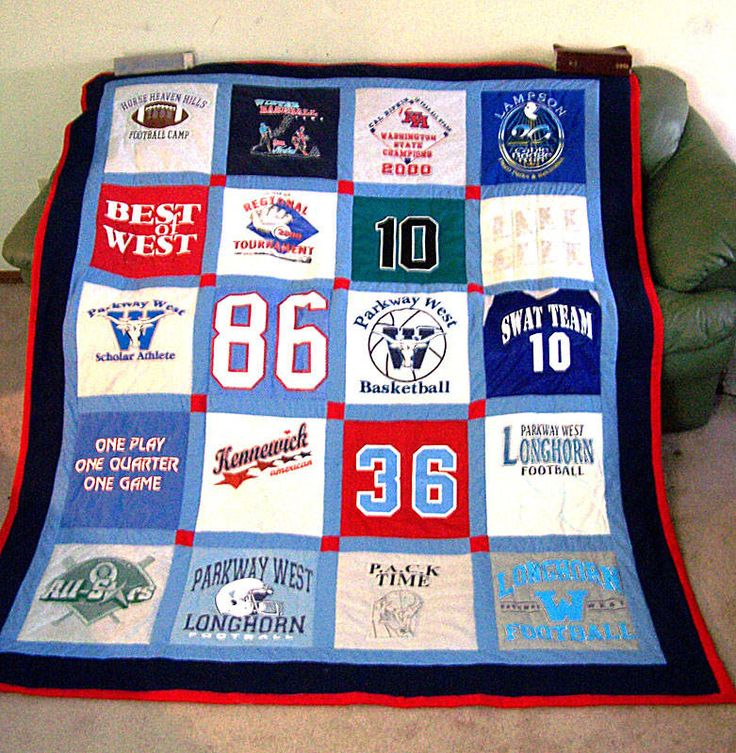 Really want to make one of these. I have kept all of my son's sports jersey's. Going to be a great project one of these days.