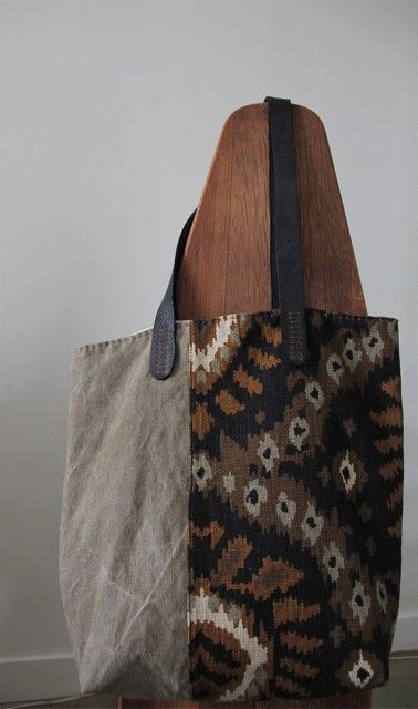 ikat linen and leather, etsy