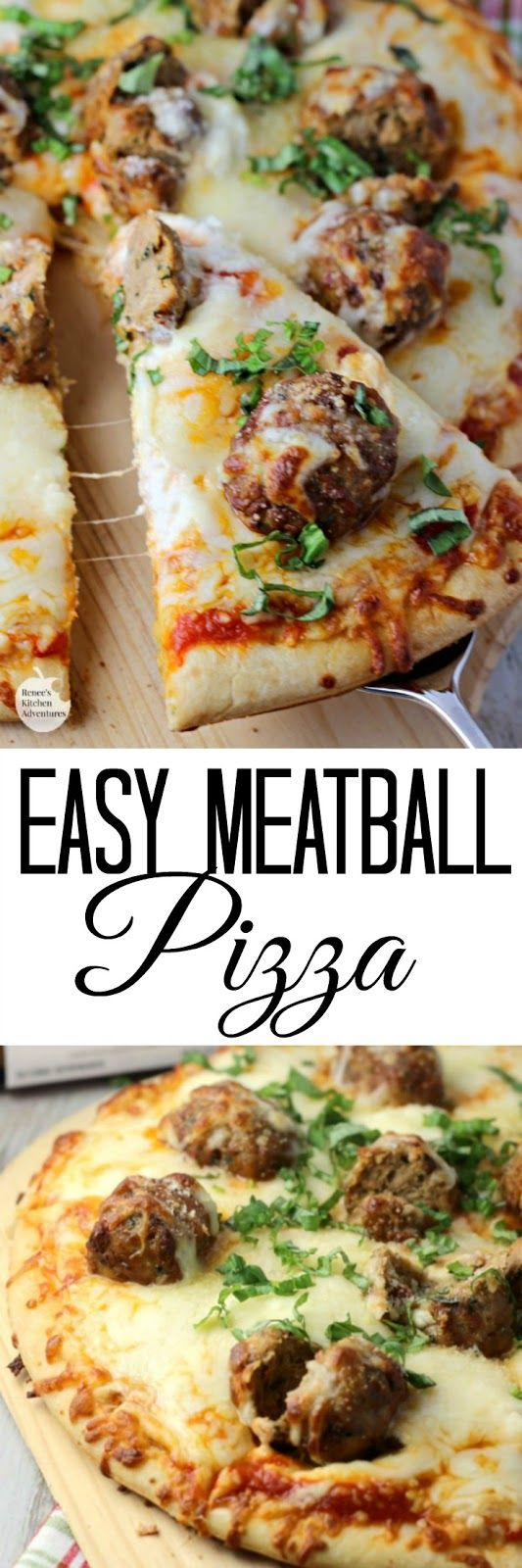Easy Meatball Pizza | by Renee's Kitchen Adventures - Easy recipe for a delicious family-friendly three cheese meatball pizza #ad