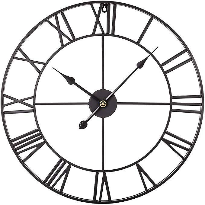 Xshion Large Decorative Wall Clock 24 Inch Retro Roman Numerals Metal Clock Silent Wall Clock Battery Oper Large Wall Clock Decor Vintage Wall Clock Wall Clock