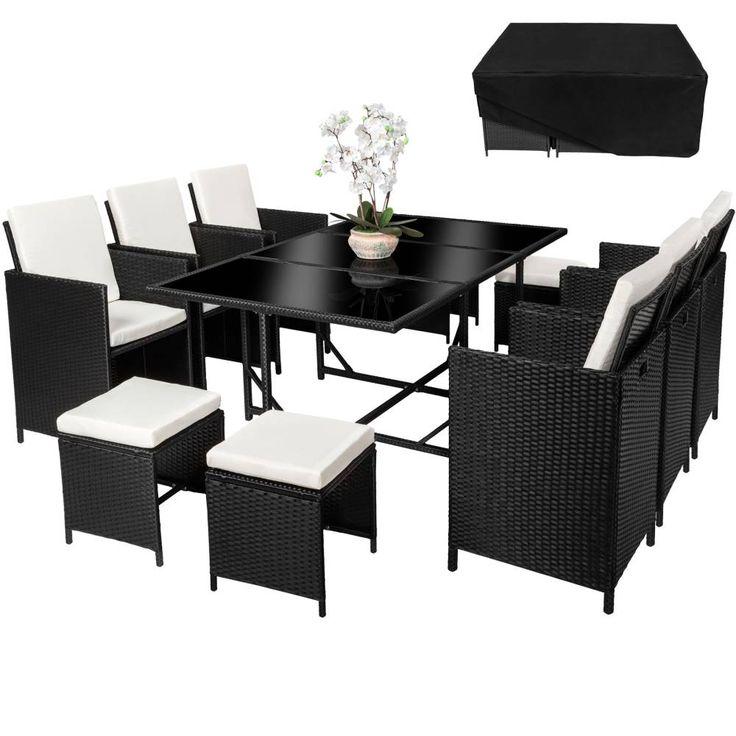 Rattan Sitzgruppe Malaga 6 Stühle + 4 Hocker + Tisch Mit Schutzhülle