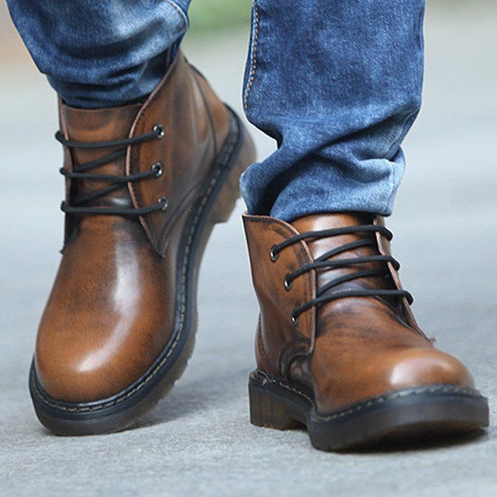 High Quality Men Shoes Retro Genuine Leather Boots Lace-Up Thick Bottom Outdoor