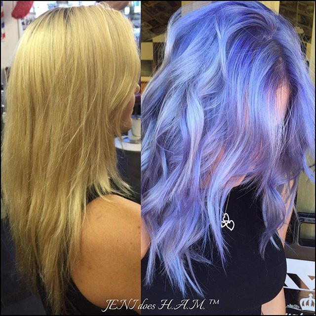 Beautiful makeover from blonde to iridescent periwinkle blue hair color by Jeni Garcia hotonbeauty.com