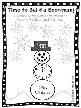 Winter Math center to practice Time to the hour and half hour!