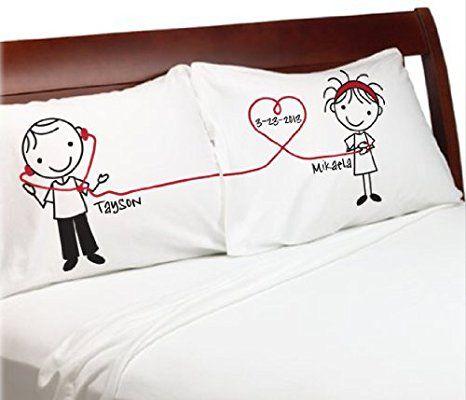 """'Stick Personas """"escuchar a mi corazón regalo novio novia regalos de San Valentín Aniversario parejas almohada boda, aniversario, Idea de regalo romántico para él Cute Stick Figuras."""