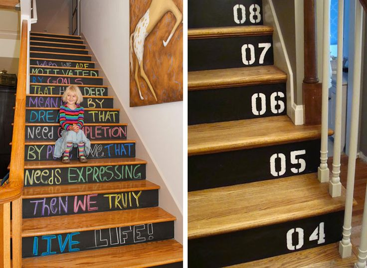 Scale decorate con la pittura effetto lavagna | Blackboard paint stairs • #lavagna #design #blackboard #paint