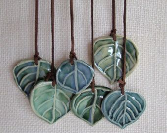 Wall hanging, or Wind Chime, Ceramic Aspen Leaves                                                                                                                                                                                 Mais