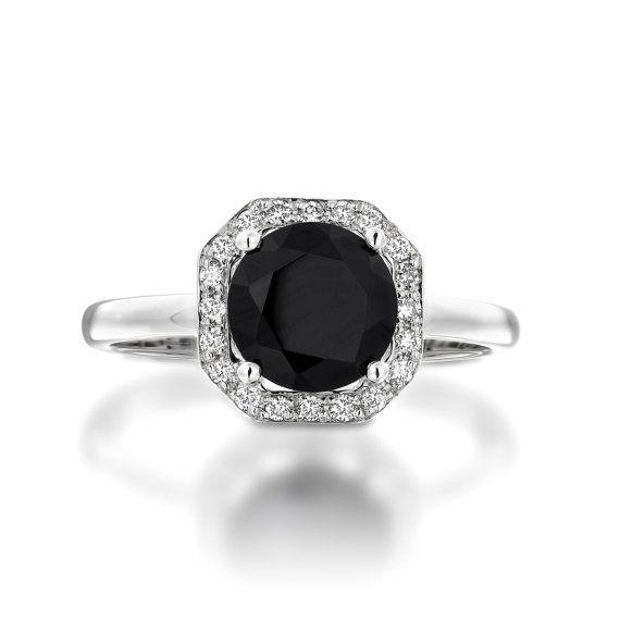 Black Onyx Diamond Halo Ring. Onyx Engagement Ring. by Juttou