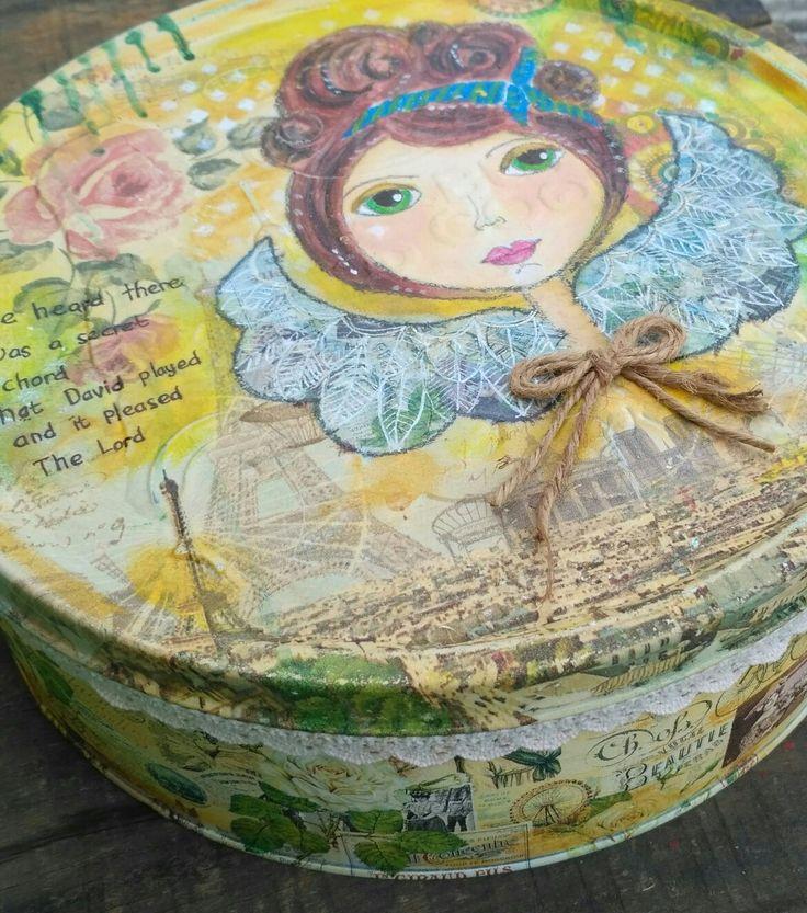 Mix media upcycle tin. Mahitala whimsical painting