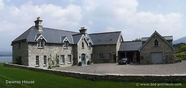 Country House which commands the large estate along Kenmare Bay in Ireland.  All new but looks like it was constructed 100 years ago but with all the modern comforts inside! House design: dod architects