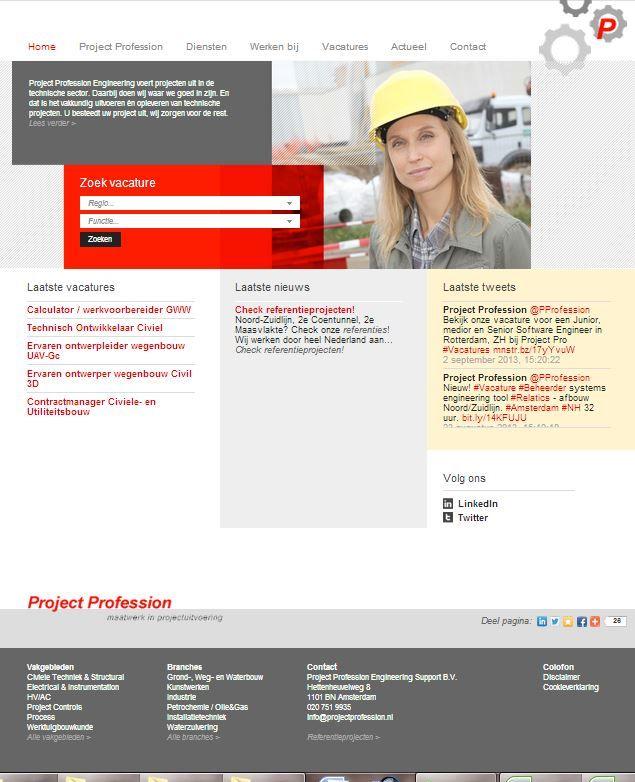 Project Profession Engineering - website, vacaturebank, social media pr en recruitment