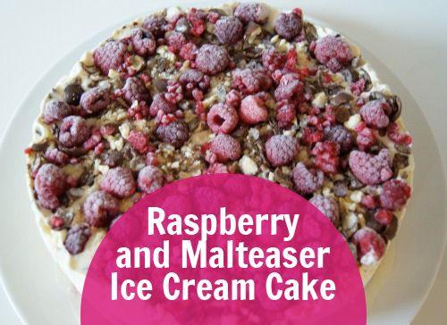 Ice Cream Cake Recipe - Super Easy and Tasty- Raspberry and Malteser Ice Cream Cake. Super easy to make and tastes amazing!