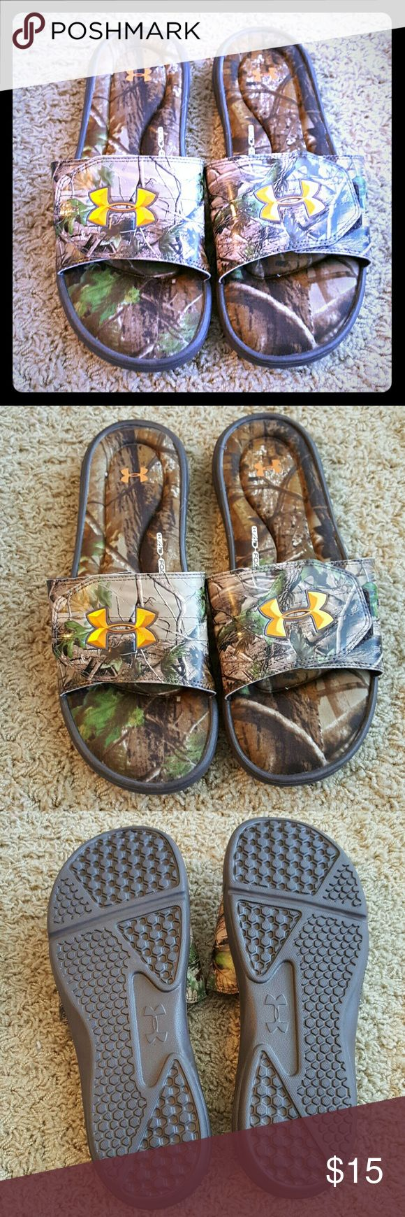 Men's Under Armour Camo Slides EUC size 11. Under Armour Shoes Sandals & Flip-Flops