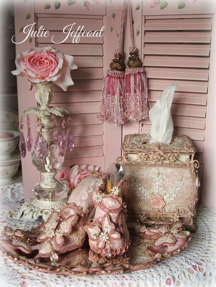 Victorian Pink Tissue Box holder - Shabby Dresser set!