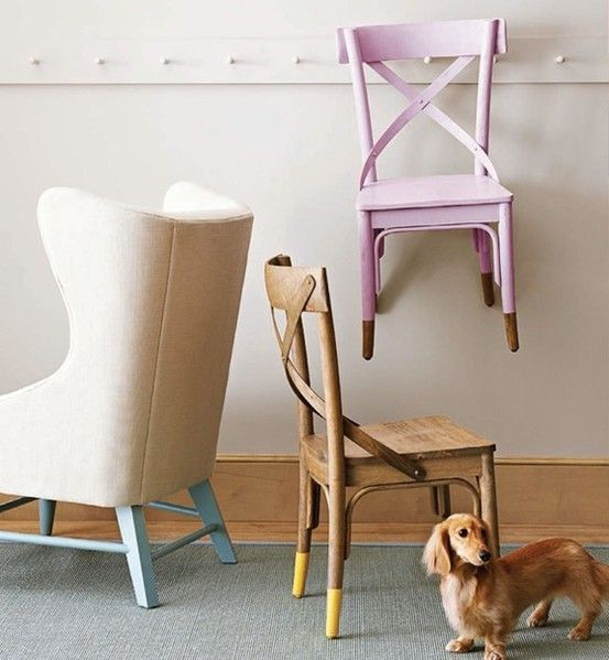 Find all your furniture and start dipping it in paint! Cheap and chic.