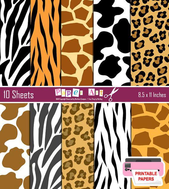 INSTANT DOWNLOAD - Printable - Wild Animal Print Background (Zebra, Tiger, Leopard, Cow, Giraffe) Animal Print Paper, Digital Paper Set.