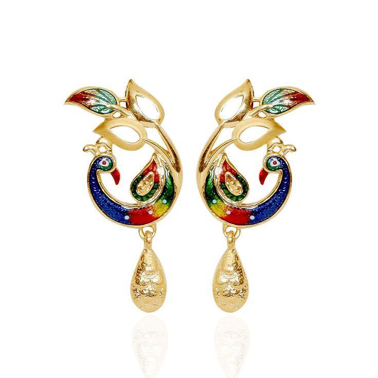 The Enameled Mayur Leaf Gold Necklace