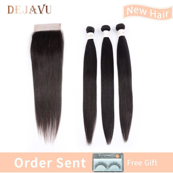 Dejavu Indian Straight Hair 3 Bundles With Lace Cl…