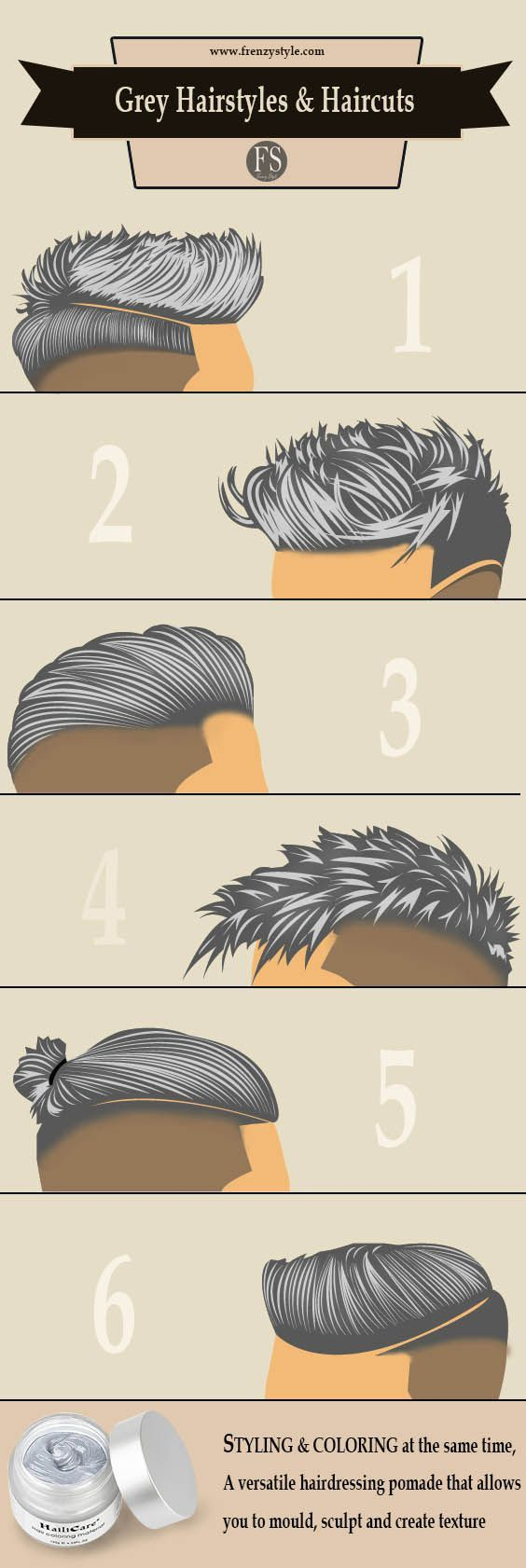 Grey Men Hairstyles & Haircuts – hairdressing pomade – styling and coloring at the same time http://www.99wtf.net/men/popular-hairstyles-men-2017/
