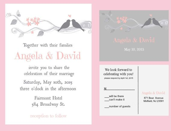 Wedding Invitations, Printable, Love Bird Wedding Invitations, Diy Wedding  Invites, Pink And