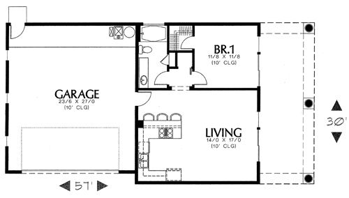 floor plan image of Featured House Plan: BHG - 1634- 689 sq ft.