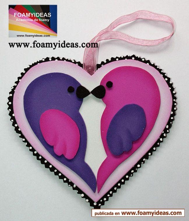You can do it! Its easy! A very nice bird hart from foam EVA. Tu puedes realizarlo. Es super fácil! Un corazón pájaros.Para regalarlo a tus seres queridos. Hecho a mano. http://www.foamyideas.com/moldes/amor-y-amistad foamyideas@gmail.com