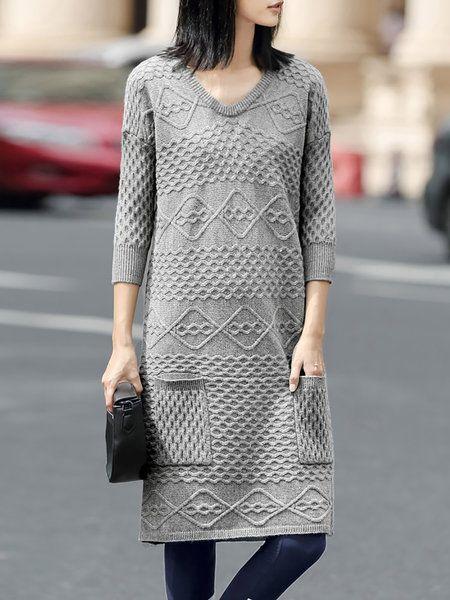 Shop Midi Dresses - Simple 3/4 Sleeve V Neck Sweater Dress online. Discover…