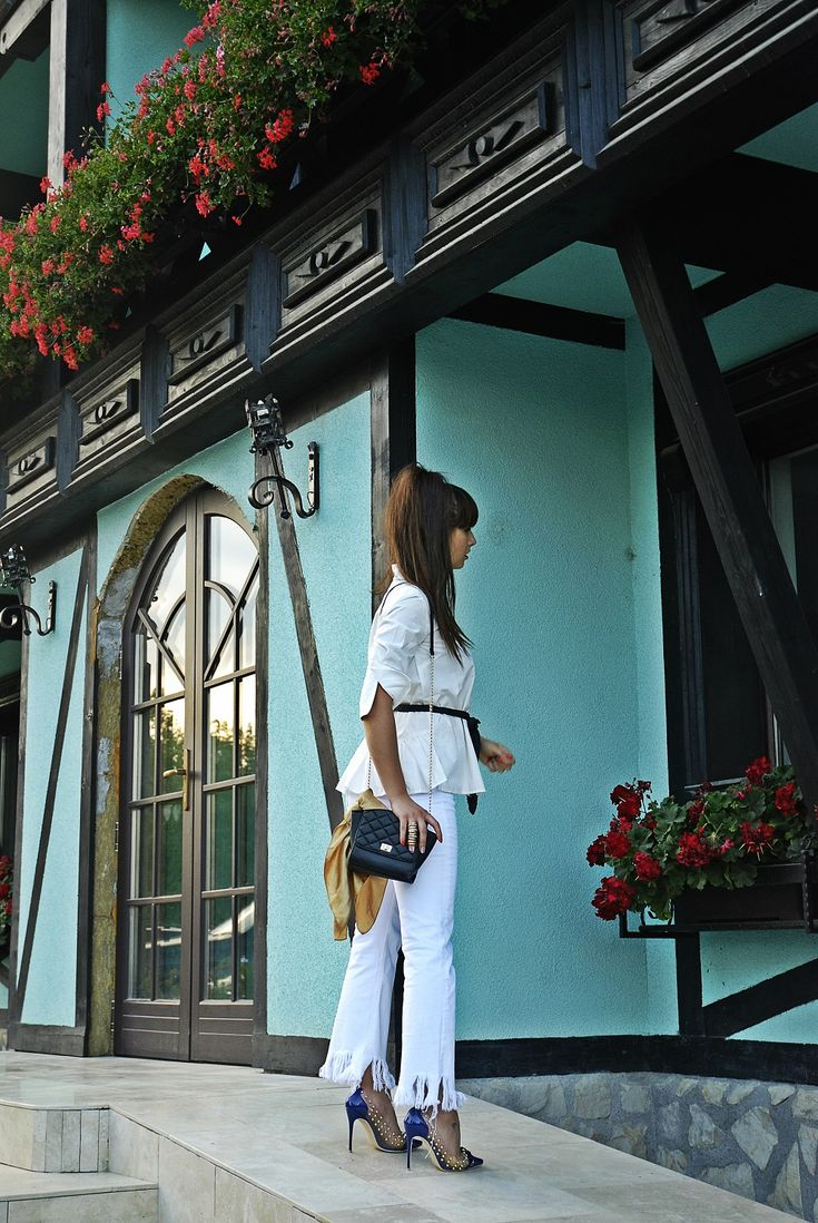 All white outfit office look