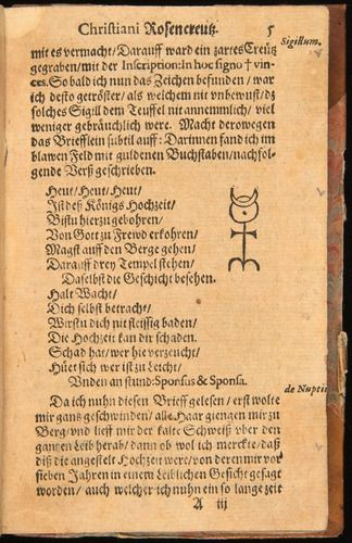 An alchemical fable and Rosicrucian manifesto which shook Europe for a century: Johann Andreae, Chymische Hochzeit (1616), with Monas Hieroglyphica. In the Living Library exhibit, History of Science Collections, University of Oklahoma Libraries. http://ouhos.org/2011/04/06/chymical-wedding/