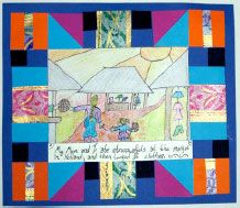 """""""Story quilts"""" - Tar Beach by Faith Ringgold - If you could fly anywhere were would you go? - crayon - marker outlines - opportunity to use watercolor for crayon resist"""