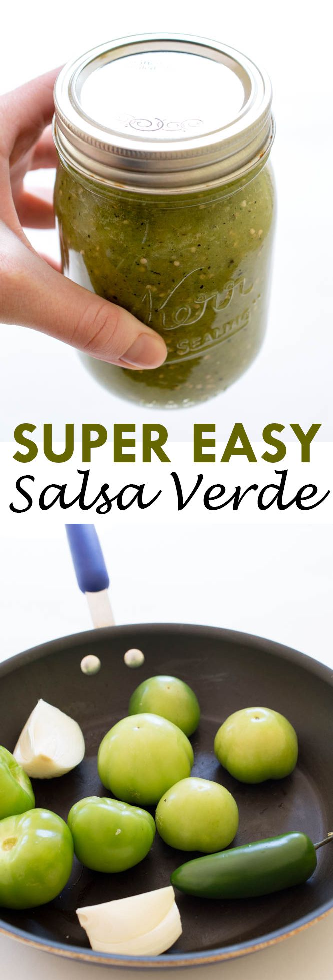 Super Easy Salsa Verde. Pan roasted for extra flavor and pureed with garlic, jalapeno, cilantro and lime juice. Only 7 ingredients! | chefsavvy.com #recipe #salsa #verde #tomatillo