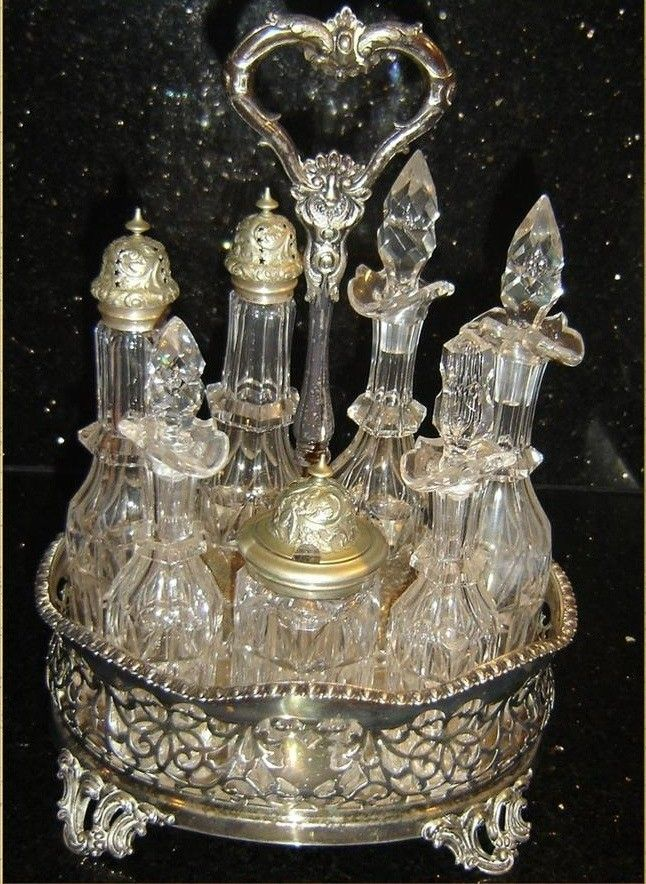 Antique Stunning England Victorian Silver Mounted Crystal Cruet Set 8 Pieces.