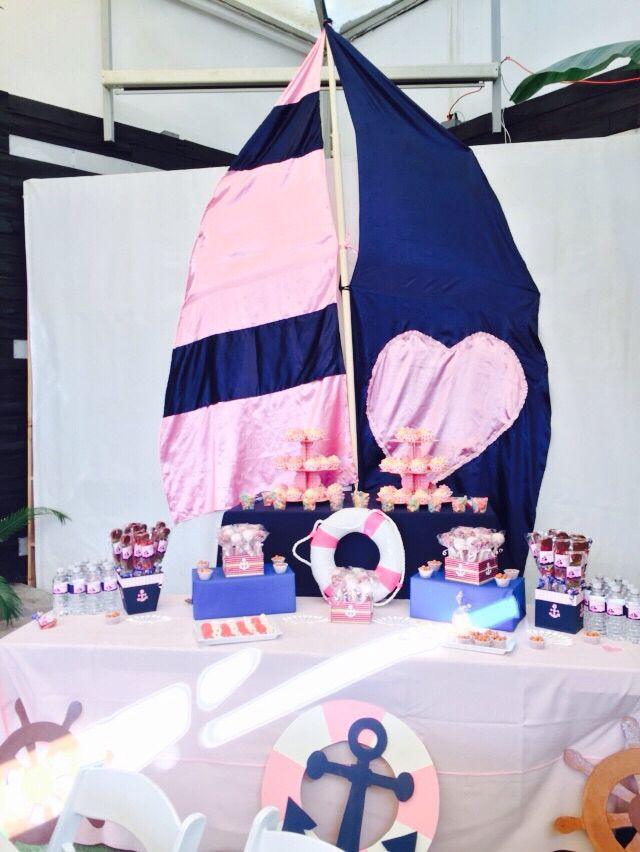 Mesa de postres baby shower ni a marinero baby shower ni a pinterest mesas beb y postres - Fiesta marinera decoracion ...