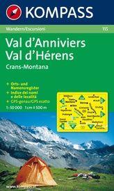 Wandelkaart 115 Val d'Anniviers - Montana - Val d'Hérens | Kompass