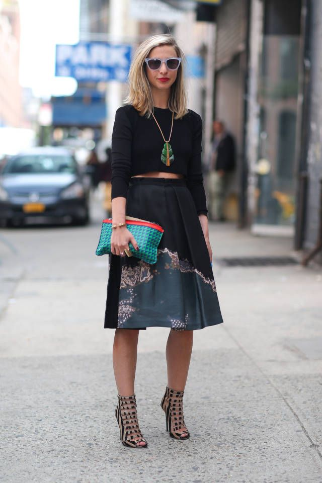 Crop top with full ladylike skirt.