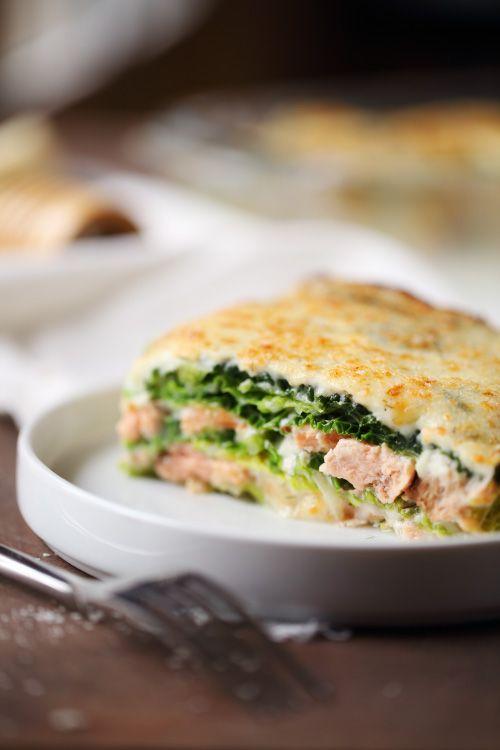 Lasagne de chou vert aux 2 saumons