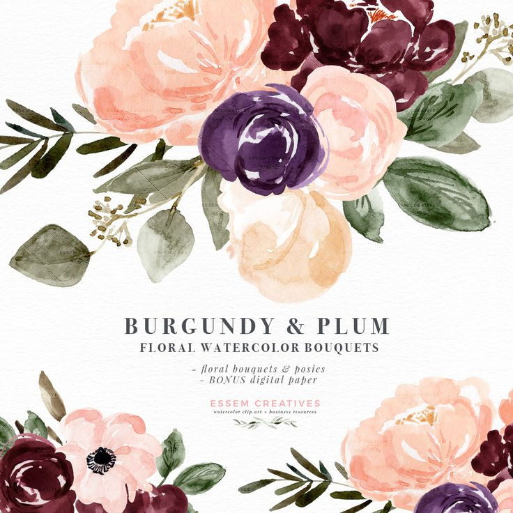 Burgundy Plum Floral Watercolor Clipart, Blush Burgundy Watercolor Flowers, Rustic Boho Fall Wedding Invitation