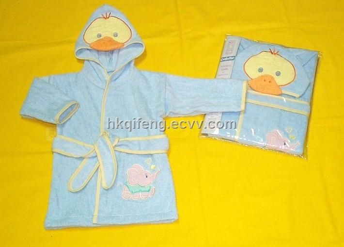 100% Cotton Plain Dyed Children Bathrobe (five) - China bathrobe /children bathrobe, OEM