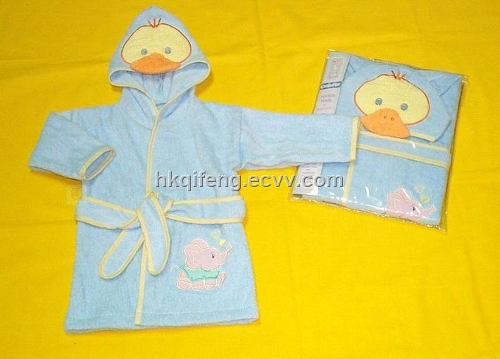 100% Cotton Plain Dyed Children Bathrobe (five) - China bathrobe /children bathrobe, OEM
