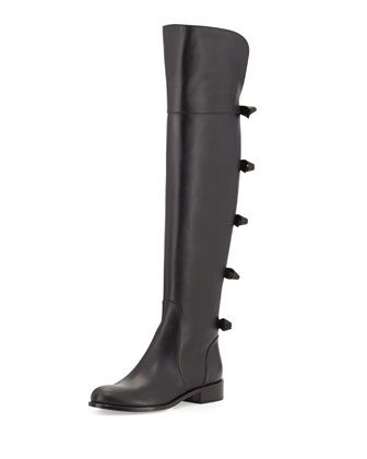 Bow-Back Over-the-Knee Boot, Noir by Valentino at Neiman Marcus.