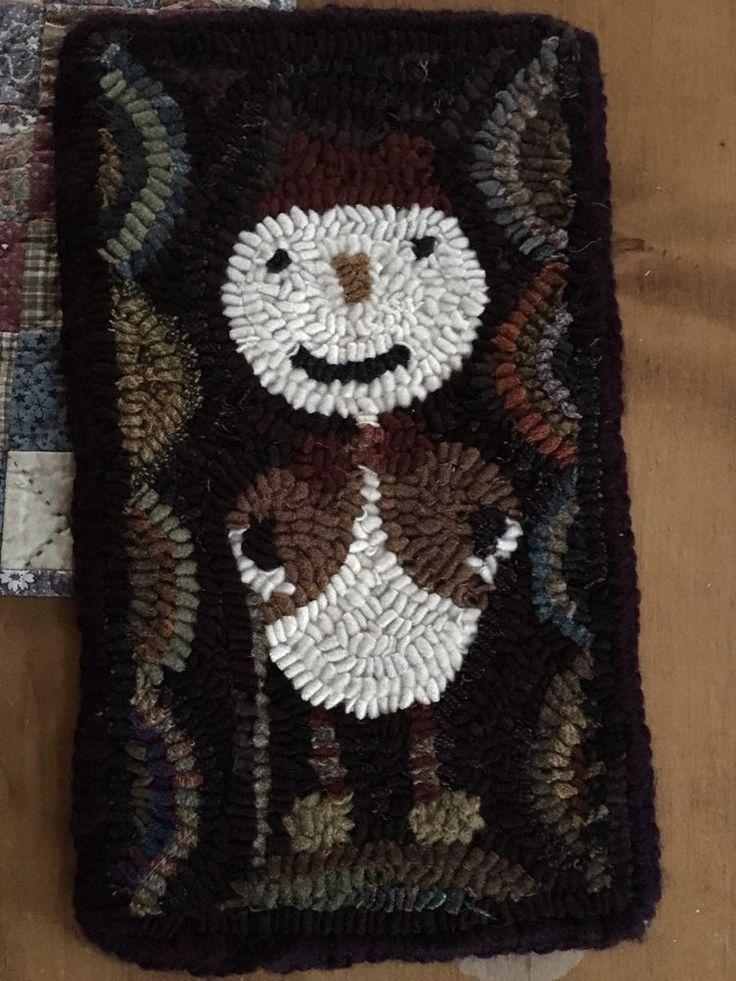 Reduced! HAND MADE PRIMITIVE HOOKED RUG Mat Snow Guy Folk Art Snowman #Primitive #MargaretZenk